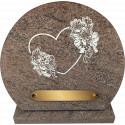plaque granit coeur fleuri
